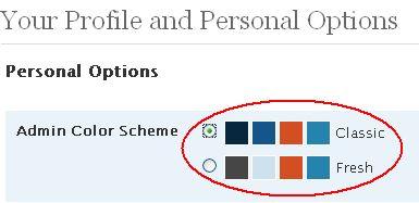 Admin color scheme