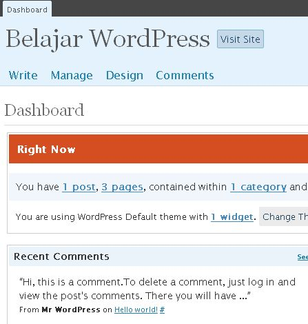 WordPress 2.5 Dashboard