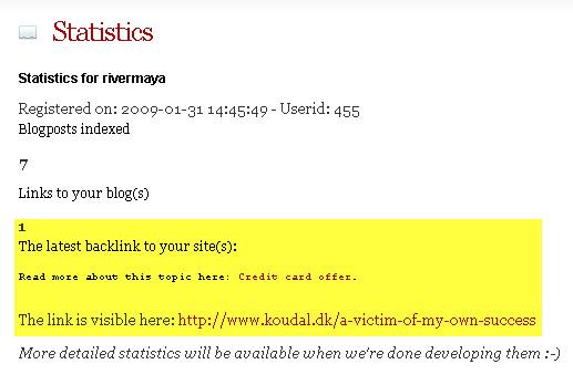 statistik di member area LinkLaunder.com