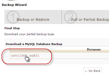 Partial backup database