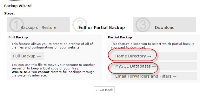 partial backup-database