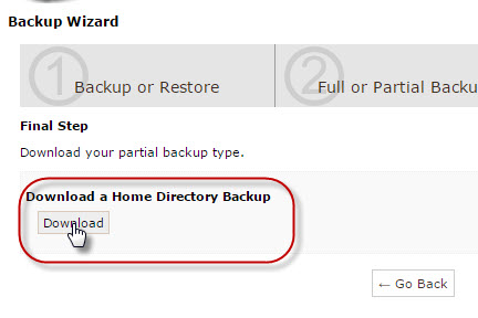 partial backup-home-direktori